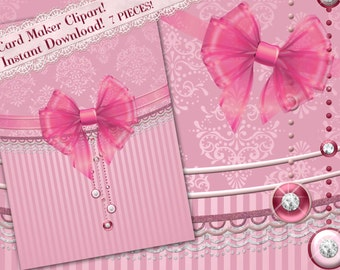 Clipart, Card Making Clipart, Pink Clipart, Bow Clipart, Pink Clip art