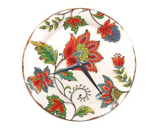 Fiesta Floral Wall Clock, Ceramic Plate Wall Clock, 9 Inch Wall Clock, Unique Wall Clock, Wall Decor, Home Decor, SILENT  1390