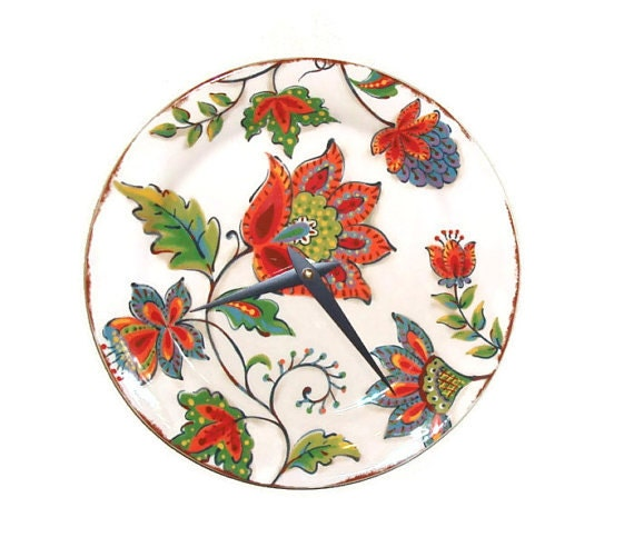 Fiesta Floral Wall Clock, Ceramic Plate Wall Clock, 9 Inch Wall Clock, Unique Wall Clock, Wall Decor, Home Decor, SILENT  1390