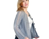 Chunky Knit Cardigan Pale Grey Silver Angela Lace Long Sleeve Jacket Hand Knit  Andean Wool