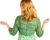 Lily Lace Bolero Organic Cotton Bridal Wedding Shrug Fern Leaf Green Hand Knit XS S M L