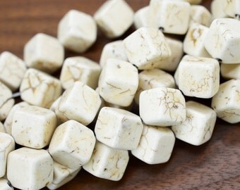 White Cube Beads, 11mm, 25pcs, Cube Beads, Howlite Beads, White beads -B249