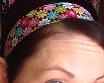 Brown Stay Put Headband w/ Colorful Flowers