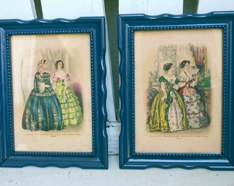 Framed Vintage French Fashion Illustrations Pair of Prints