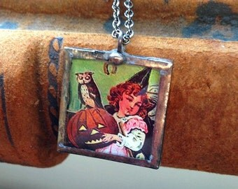Vintage Halloween postcard pendant necklace little girl witch with owl and Jack O' Lantern