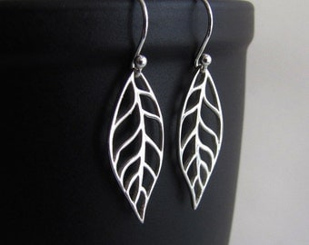 Sterling Silver Earrings, Leaf Earrings, Drop Earrings, Dangle Earrings, Jewelry, Gift