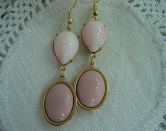 Vintage Whisper Pink Angelskin Milk Glass Teardrops and Opaque Moonstone Glass Gold Earrings