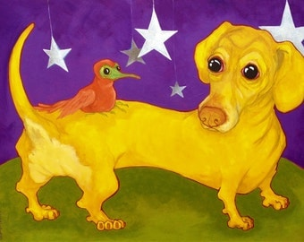 Star Weiner 8 x 10 inch dachshund print by Courtney Kelly