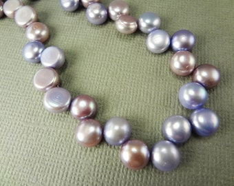 Lilac and lavender button pearls, top drilled flat back, 7mm - 651