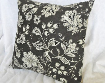 "Brown floral pillow cover, tan modern flower pillow, floral pillow slip, custom sizes 12x16"", 14"", 16 inches, 18"""