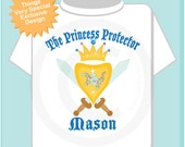 Boy's Personalized Princess Protector Big Brother Tee Shirt or Onesie with Your Child's Name (02112014b)