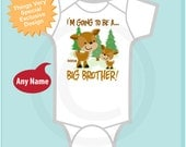 Big Brother Onesie, Personalized Big Brother Woodland Deer Tee Shirt or Onesie, I'm going to be a Big Brother (05282012a1)