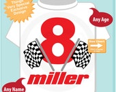 8th Birthday Checkered Flag Racer Eighth Birthday Shirt or bodysuit, Personalized Birthday Boy Racing Theme Tee Shirt or Onesie (07232014c)