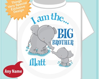 Elephant I am the Big Brother Shirt, Big Brother Elephant Tee Shirt or Big Brother Onesie Pregnancy Announcement (04032014j)