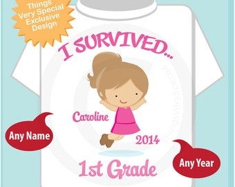 Personalized I Survived 1st Grade Shirt, First Grader Shirt Child's Back To School Shirt or (05152014b)