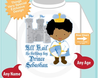 Birthday Shirt, African American Prince with black hair Birthday Shirt, Personalized Prince Birthday Boy Tee Shirt or Onesie (08192014g)