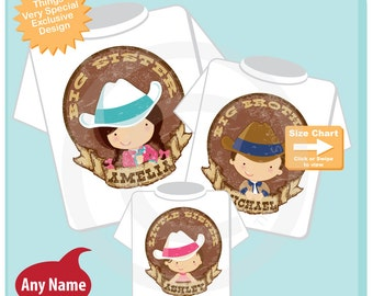 Cowboy Cowgirl Set of Three, Big Sister, Big Brother Shirt, and Little Sister Shirt or Onesie Personalized Announcement (08292014e)