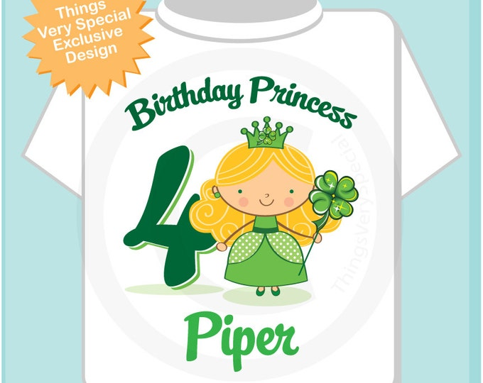 4th Birthday Personalized Irish Princess Tee Shirt any age, name  or hair color (01272104e)
