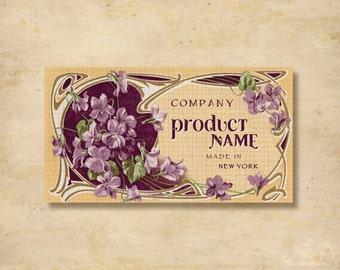 Custom Stickers - Product Labels - Vintage Labels - Authentic Vintage -  Floral, Flowers - L3