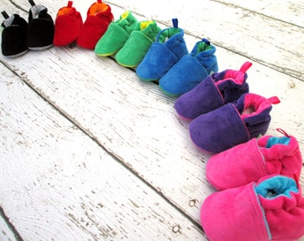 Classic So Soft Rainbow Choose Your Color All Fabric Baby Shoes / Made to Order / Babies