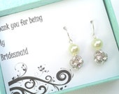Bridesmaids Thank you Gift -  Gift Boxed Jewelry  Pearl And Rhinestone Bridal Earrings  Silver Earrings - Bridal Set Wedding Jewelery