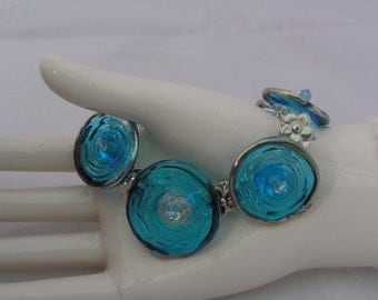 AQUAMARINE Chromed Lampwork Disc Bead Link Bracelet