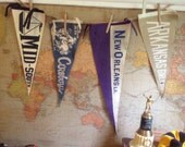 Collection of Four Vintage Pennants