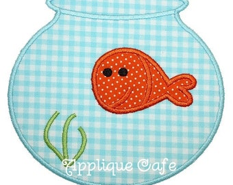 140 Fish Bowl Machine Embroidery Applique Design