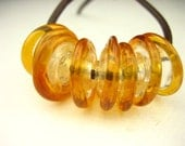 Handmade Lampwork glass disc spacer Bead set golden amber topaz clear round bead set large hole