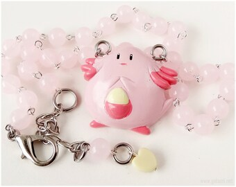 Pokemon Chansey Necklace, Pastel Pink Rosary Chain, Silver Tone - Gamer, Anime Jewelry