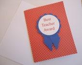 Best Teacher Award, Patriotic, Red, White, Blue, Teacher Appreciation, End of Year Teacher Card