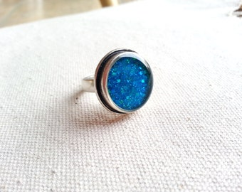 Glitter Ring Resin Jewelry Minimalist Bridal Gift For Her Sky Blue Aqua Sparkle Ring Funky Unique Sparkly Gift Ideas