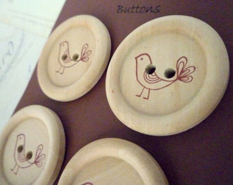 Wooden Buttons - Stamped Bird Collection - BROWN - 35mm