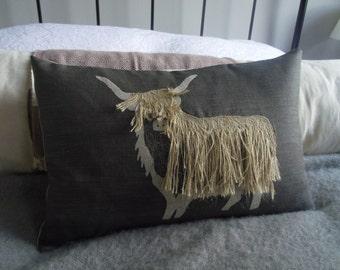 hand printed charcoal  linen  appliquéd shaggy highland cow cushion cover