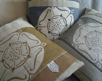 hand printed  linen  yorkshire rose cushion