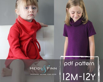 Cowl Neck Jumper Dress and sweater pattern  PDF12m - 12y easy sew  tunic dress sweater