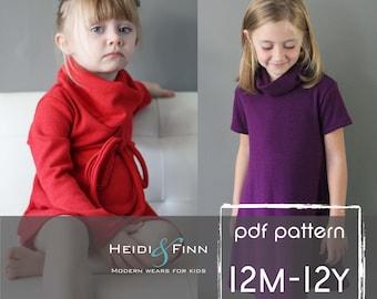 Cowl Neck Pullover Kleid und Pullover Muster PDF12m - 12y einfach Nähen Tunika Kleid Pullover