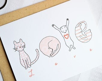 Cat LOVE Card featuring Kitty letter drawings - Single card A2 size