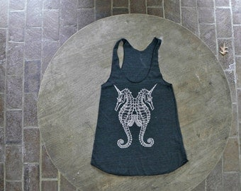 Seahorse Tank / Sea Unicorn Design / Steam Punk American Apparel Racer back Tank Top  for Women