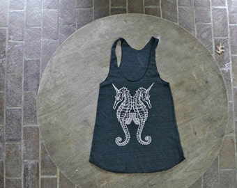 Seahorse Tank / Sea Unicorn Design / Steam Punk Racer back Tank Top American Apparel for Women
