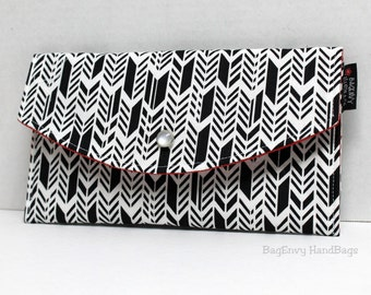 Feathered Herringbone - With Red Lining Or DesignYour Own - Full Size Clutch