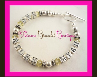 Design your own Mother's bracelet with 2 names. Or with a single name or as many as you would like! Grandma, customized- select size /color