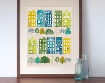 New York Brooklyn Brownstone Houses Art Print