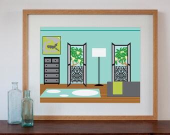 Terraced House Bedroom Interior - Digital Art Print