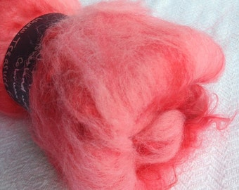 Fluffy Spinning Batt Lip Stick Pink Fiber wool Art Batt Fibre Felting Shetland Wool Mohair Locks