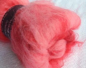 Fluffy Spinning Batt Lip Stick Pink Fiber wool Art Batt Fibre Felting Shetland Wool Mohair Locks