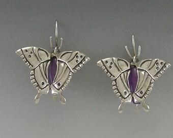 Swallowtail Butterfly Sterling Silver Earrings with Amethyst