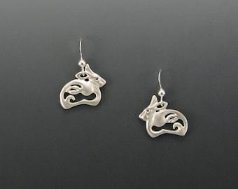 Arctic Hare Spirit Sterling Silver Earrings