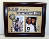 Father and Son Frame - Military Themed Frame - Daddy a Son's First Hero - 11x14 Frame Included - Army, Navy, Air Force, Marine