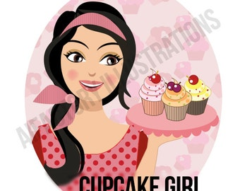 Woman holding cupcake , Girl baking clipart cute girl pink cupcake  bakery PNG clipart woman Digital PNG clipart commercial use